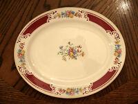 """Homer Laughlin Lady Alice Red Floral Platter Gold Trim 11 3/4"""" VG Rare Vintage"""