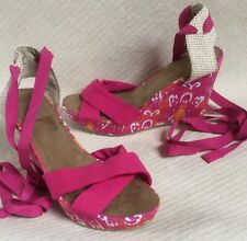 New Old Navy Pink Ikat Wedge Espadrille Pink Ankle Ties sz 9