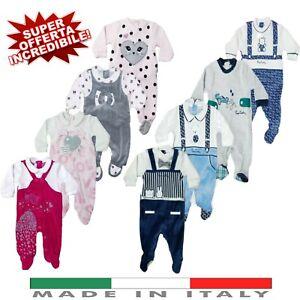 Tutina neonato maniche lunghe intera o spezzata in Cotone/Caldo Cotone/Ciniglia