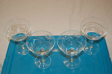 Noritake Sasaki etched champagne goblets/glasses cabbage roses (4) Excellent