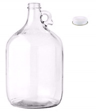 1 Gallon Glass Jug with Cap Lid One Vintage Jar Milk Water Wine Making Bottles