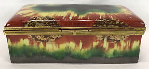 Vintage Art Deco ALADIN France French Porcelain Painted Trinket Jewelry Box