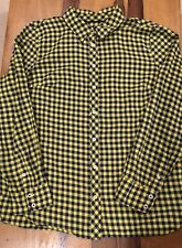 talbots womens yellow blue checkered long sleeve button up shirt top m petite