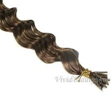 200 Deep Wave Curly I Stick Tip Micro Link Remy Human Hair Extension Light Brown