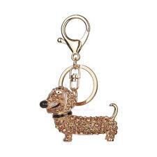 Cute Dog Rhinestone Keychain Purse Bag Key Chain Ring Gift Keyring Champagne