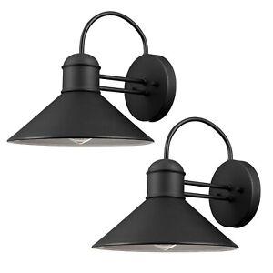 Globe Electric Sebastien 1-Light Black Outdoor Wall Lantern Sconce 2-Pack 44165
