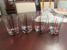 """4 Hand Made Art Glass 4 1/4"""" Double Old Fashioned Tumblers Red & Green Stripes"""