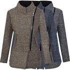 Designer Femmes HIVER MANTEAU VESTE CHINÉ mélange laine parka gris beige bleu