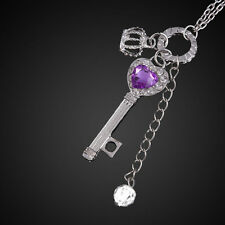 Charms Lady Heart Silver Tone Crown Key Crystal Rhinestone Long Pendant Necklace