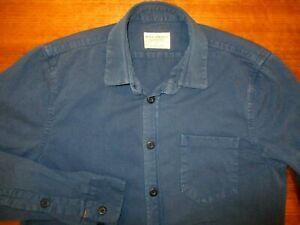 NUDIE  MENS DESIGNER QUALITY BLUE ORGANIC COTTON  SHIRT SMALL  IN  VGC