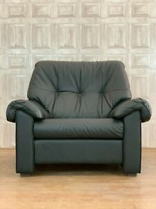 Ekornes Stressless Black Leather Club Chair Part Of Suite - Retro *£60 DELIVERY*