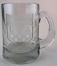 BUDWEISER Heavy Etched Beer Drinking Mug 1984 US Olympics Only Sold at SEARS