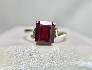 Vintage Art Deco 10k Yellow Gold Emerald Cut Rhodolite Garnet Solitaire Ring