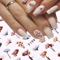 Nail Art Water Decals Stickers Transfers Water Effect Brown Flowers Floral F199