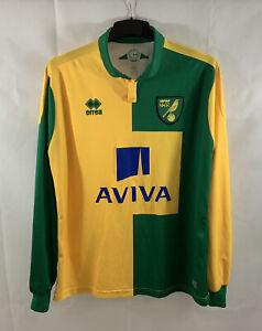 Norwich City L/S Home Football Shirt 2015/16 Adults XL Errea C14