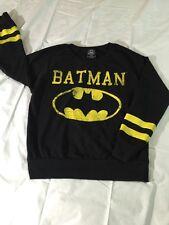 Batman DC Comics Long Sleeve Logo T SHIRT Small S Black EUC