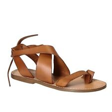Italian laced-up thong open sandals shoes for women handmade in tan soft leather