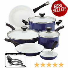 Ceramic Cookware Set 12 Piece Non Stick Blue Pots Pans Kitchen Cooking Tools