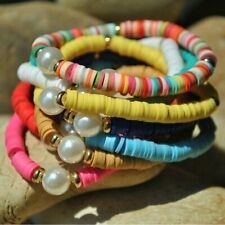 Colorful Polymer Clay Bead Pearl Stretch Boho Bracelet Multicolored Beads Women