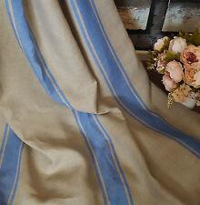 "Natural/Taupe Blue Ticking Stripe 100% Heavy Linen 60"" Designer Curtain Fabric"
