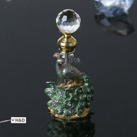 Vintage Green Peacock Glass Crystal Metal Perfume Bottle Empty Lady Gifts 3.6ml