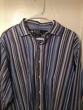 POLO by RALPH LAUREN 17.5 XL Estate Classic Fit Blue Striped Long Sleeve