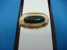 RARE BLOOD STONE ANTIQUE BROOCH 10K GOLD, 37 x 21 MM, 5.1 GRAMS.