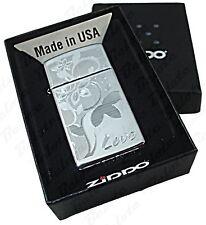 Zippo SLIM Love Flower High Polish Chrome Lighter 24816