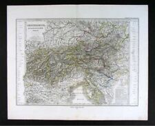 1876 Stieler Map Austria Switzerland Italy Alps Europe