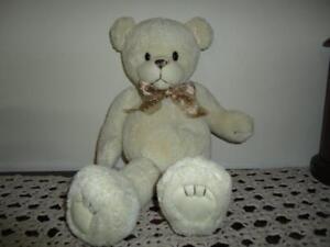 First & Main Bear MURDOCH 15 inch Rubber Snout Cream Coloured Chiffon Ribbon