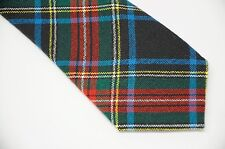 Vtg Made in Scotland 100% New Wool Stewart Black Plaid Red Green Black Tie 3.5""
