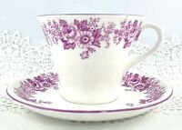 Vintage Shelley Cup and Saucer Set Mauve Trailing Rose & Daisy England Numbered