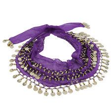 3 Rows 128 Gold Coins Belly Dance Costume Hip Scarf Skirt Belt Wrap Waist HPY