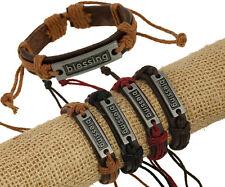Lots 12pcs New Punk Alloy Individuality BLESSING Hemp Genuine Leather Bracelets