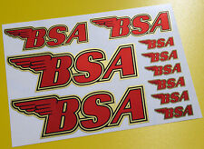 CAFE RACER style 'BSA' GOLD LOGO set stickers decals for frame tank and helmet