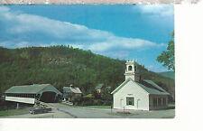 Covered Bridge and Church with car Stark NH   Postcard 357