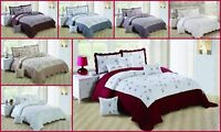 3 Piece Bedspread Quilted Embroidered Comforter Set Bed Throw Single Double King