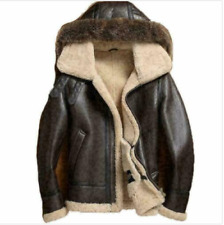 Men's RAF Flight Original Fur Shearling Real Sheepskin B-3 Bomber Leather Jacket