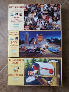 Suns Out 300 Piece Puzzle Lot Of 3 Cat Collage Barn Dance Chickadees Preowned