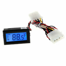 Digital Thermometer LCD Meter Gauge Detector PC Car Mod C/F Molex Panel Mount XZ