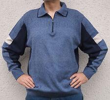 Original 90er Jahre - Vintage Pullover Retro Troyer Kragen Pulli blau - XL 52/54