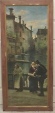 ANTIQUE ITALIAN VENICE  SCENE VENDOR WITH GIRL AND OLD WOMAN O/C ( 1 of pair)