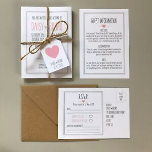 Rustic Pink & Grey Wedding Invitations Day or Evening Personalised Invites Boho