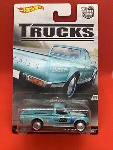 HOT WHEELS CAR CULTURE TRUCKS DATSUN 620 UTE PICKUP BLUE REAL RIDERS