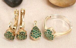 Turkish Handmade Emerald Silver 925 Set Earring Ring Pendant 6-12