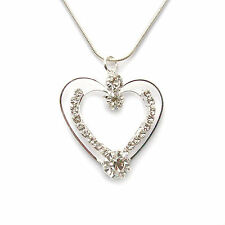 Women's Necklace Heart Necklace Rhinestone Jewellery Silver Colored Woman Love