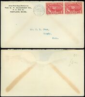 Aug 13, 1913 Portland ME Cds Cover to Granby CT, SC #Q1 Pair Parcel Post Stamps!