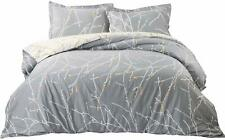 Bedsure Duvet Cover Set with Zipper Closure-Grey/Ivory Printed Pattern,Twin