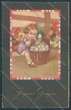 Colombo Children Bambini Rooster Egg Postcard cartolina EE4761