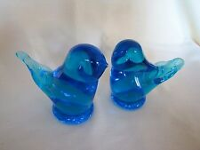 2 Blue Glass Birds *Signed J Abrajan* 1990 - hand blown - Beautiful